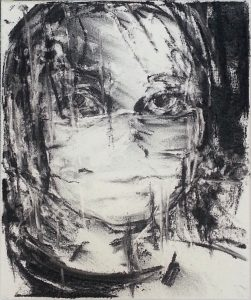 Tired III: charcoal on canvas - face with protectionmask