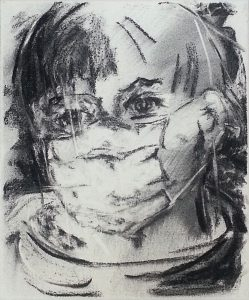 Tired II: charcoal on canvas - face with protectionmask