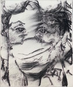 Tired I: charcoal on canvas - face with protectionmask and -glasses