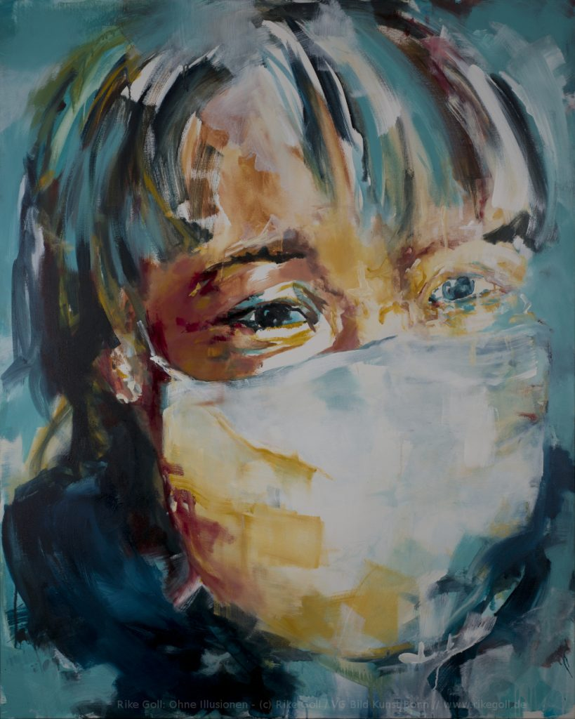 acryl on canvas - face with protectionmask