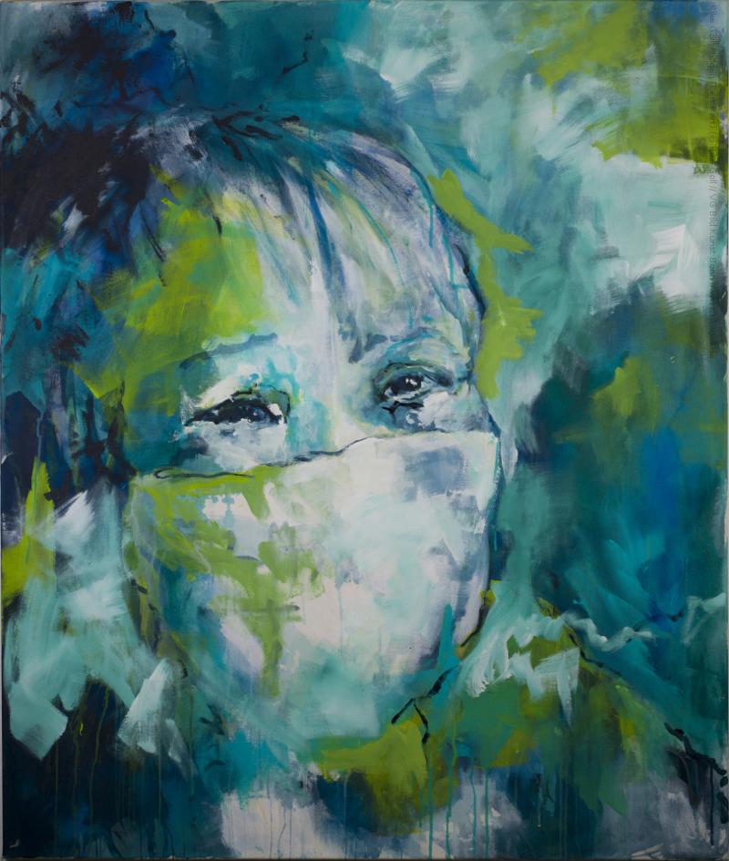 Acrylbild Frauenkopf mit Mundschutz